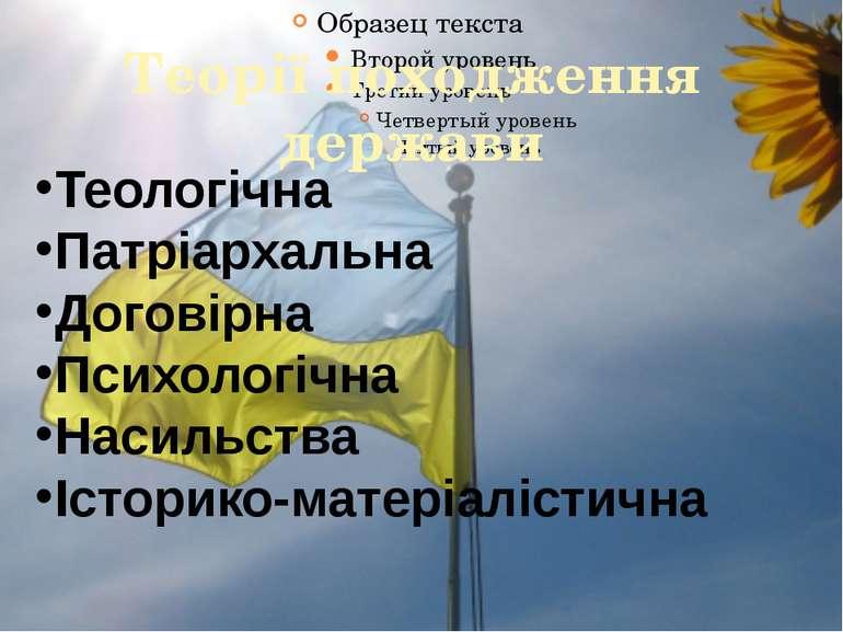 Теорії походження держави Теологічна Патріархальна Договірна Психологічна Нас...
