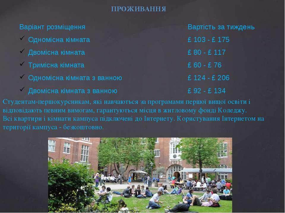 ПРОЖИВАННЯ Студентам-першокурсникам, які навчаються за програмами першої вищо...
