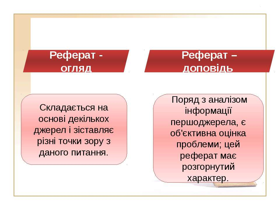 . . Реферат - огляд Реферат – доповідь Складається на основі декількох джерел...