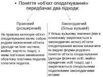 Поняття «об'єкт оподаткування» передбачає два підходи: Правовий (розширений) ...