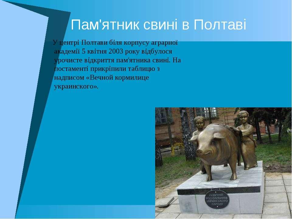 Пам'ятник свині в Полтаві У центрі Полтави біля корпусу аграрної академії 5 к...