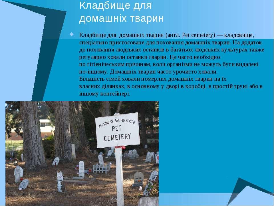 Кладбище для домашніх тварин Кладбище для домашніх тварин(англ.Pet cemetery...