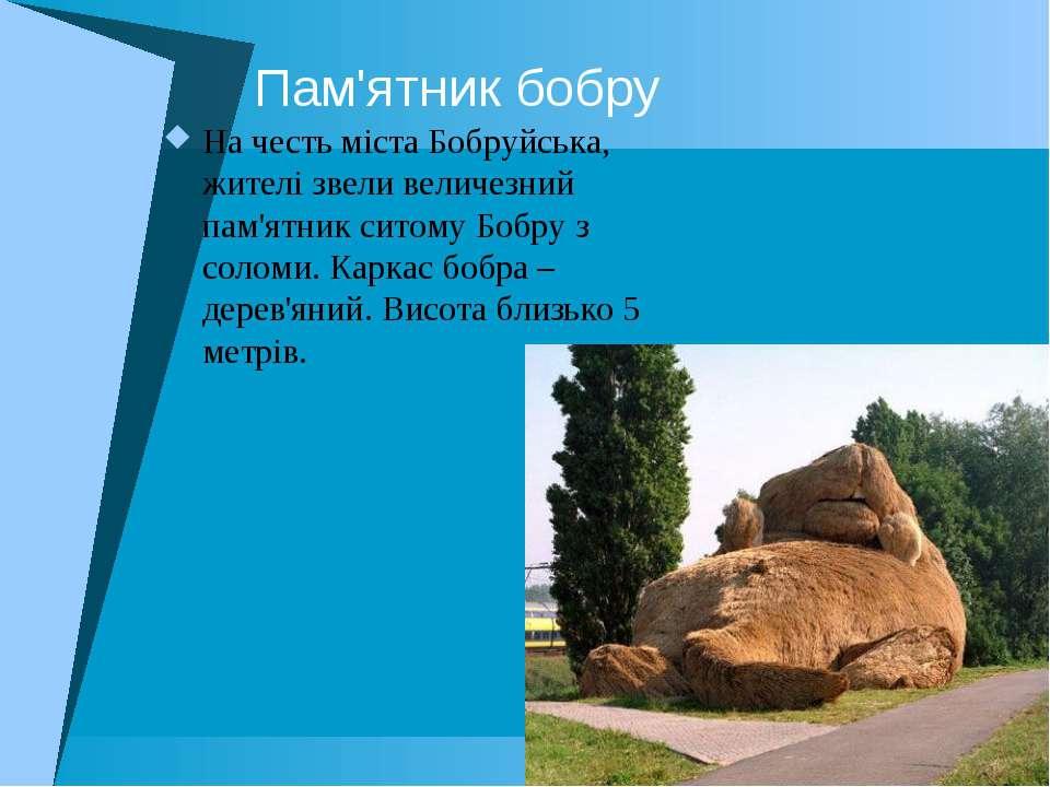 Пам'ятник бобру На честь міста Бобруйська, жителі звели величезний пам'ятник ...
