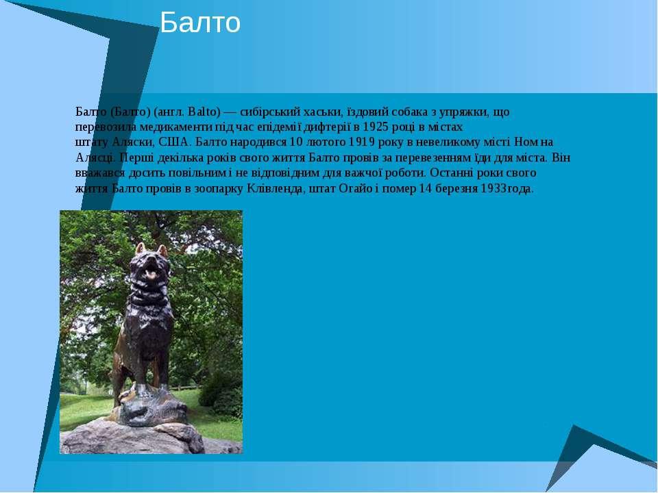 Балто Балто(Балто) (англ.Balto) — сибірськийхаськи,їздовий собаказ упряж...