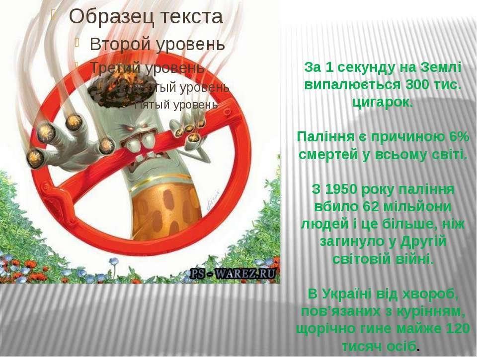 За 1 секунду на Землі випалюється 300 тис. цигарок. Паління є причиною 6% сме...