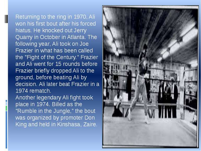 Returning to the ring in 1970, Ali won his first bout after his forced hiatus...