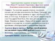 Характеристика задания: история, 6 класс Тема «Иван IV Грозный. Опричнина» (ф...
