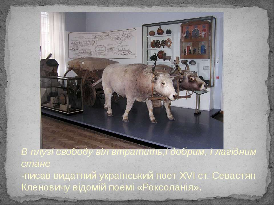 В плузі свободу віл втратить,і добрим, і лагідним стане -писав видатний украї...