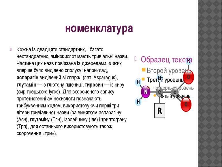 номенклатура Кожна із двадцяти стандартних, і багато нестандратних, амінокисл...