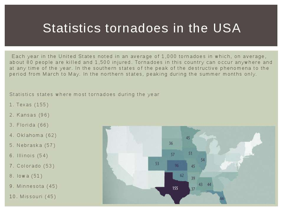 Each year in the United States noted in an average of 1,000 tornadoes in whic...