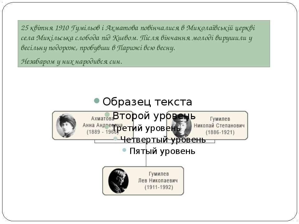 25 квітня 1910 Гумільов і Ахматова повінчалися в Миколаївській церкві села Ми...