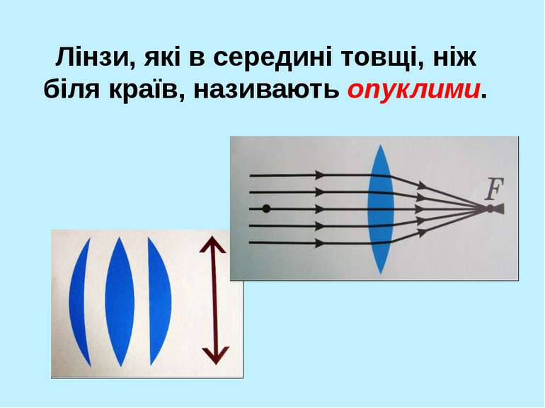 Лінзи, які в середині товщі, ніж біля країв, називають опуклими.
