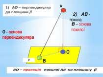 О В О - основа перпендикуляра 2) АВ - похила В – основа похилої