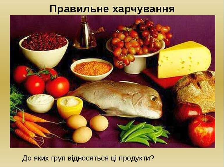 Правильне харчування До яких груп відносяться ці продукти?