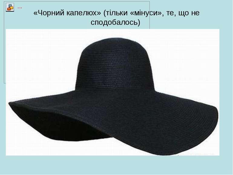 «Чорний капелюх» (тільки «мінуси», те, що не сподобалось)