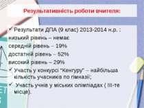Результативність роботи вчителя: Результати ДПА (9 клас) 2013-2014 н.р. : низ...
