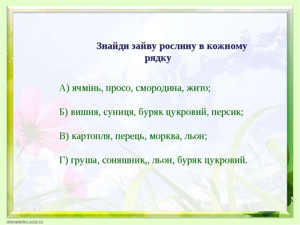 Знайди зайву рослину в кожному рядку А) ячмінь, просо, смородина, жито; Б) ви...