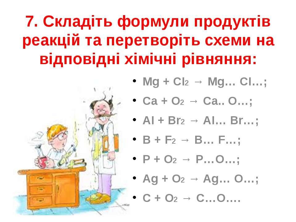 7. Складіть формули продуктів реакцій та перетворіть схеми на відповідні хімі...