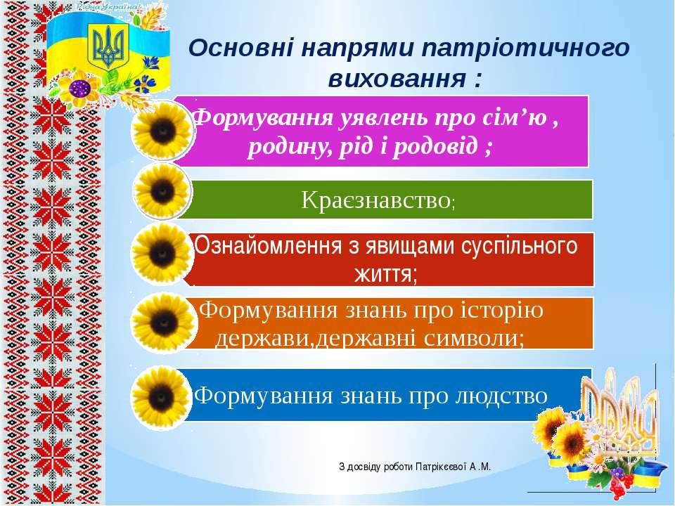 Основні напрями патріотичного виховання : З досвіду роботи Патрікєєвої А .М.