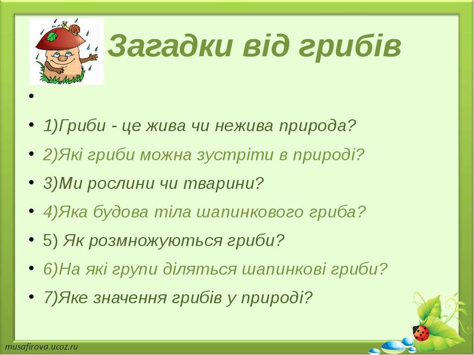 Загадки від грибів 1)Гриби - це жива чи нежива природа? 2)Які гриби можна зус...