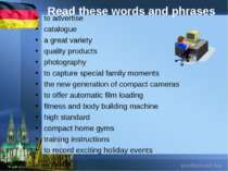 Read these words and phrases to advertise catalogue a great variety quality p...