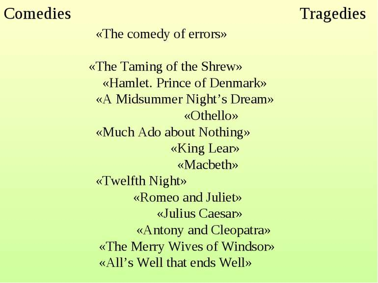 Comedies Tragedies  «The comedy of errors» «The Taming of the Shrew» «Hamlet...