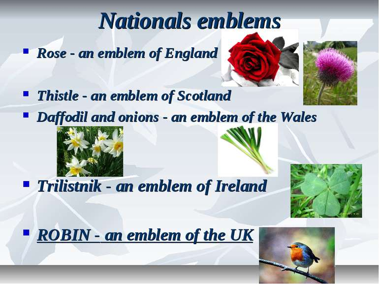 Nationals emblems Rose - an emblem of England Thistle - an emblem of Scotland...