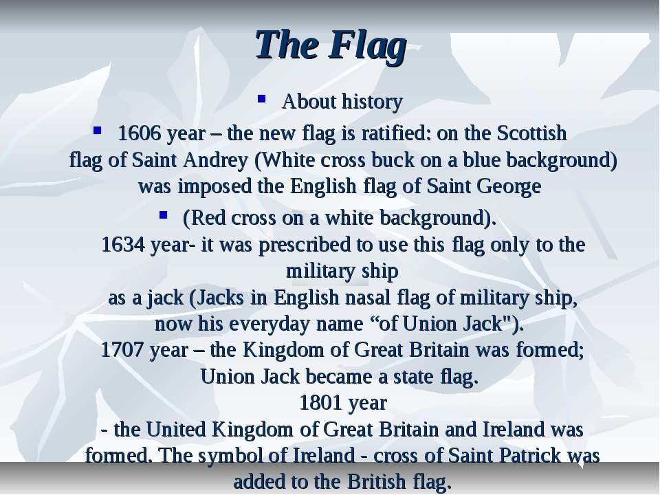 The Flag About history 1606 year – the new flag is ratified: on the Scottish ...