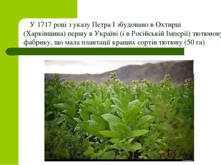 У 1717 році з указу Петра І збудовано в Охтирці (Харківщина) першу в Україні ...
