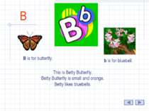 B B is for butterfly. b is for bluebell. This is Betty Butterfly. Betty Butte...