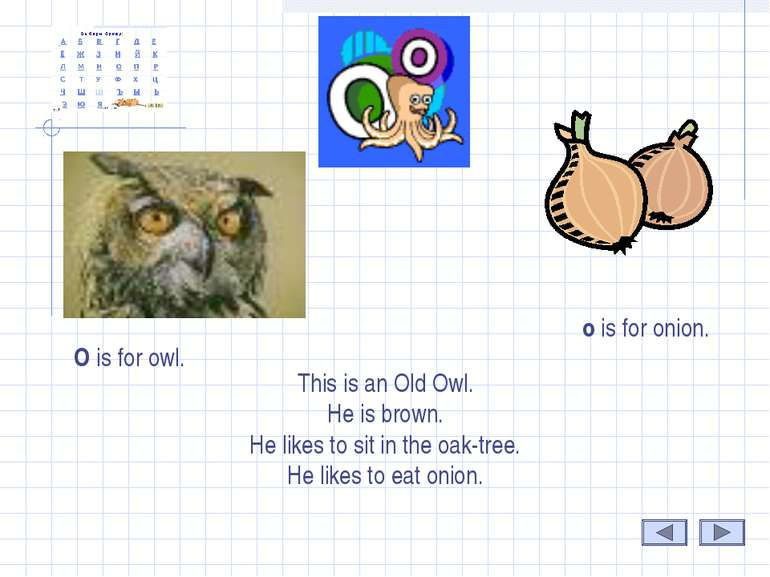 o O is for owl. o is for onion. This is an Old Owl. He is brown. He likes to ...