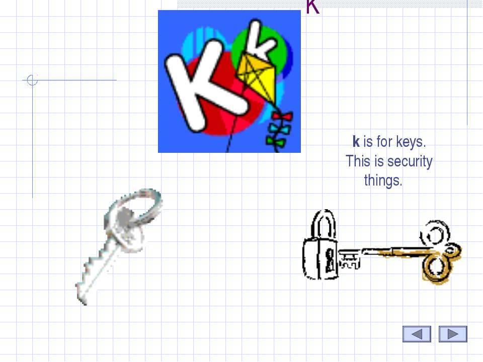 K k is for keys. This is security things.