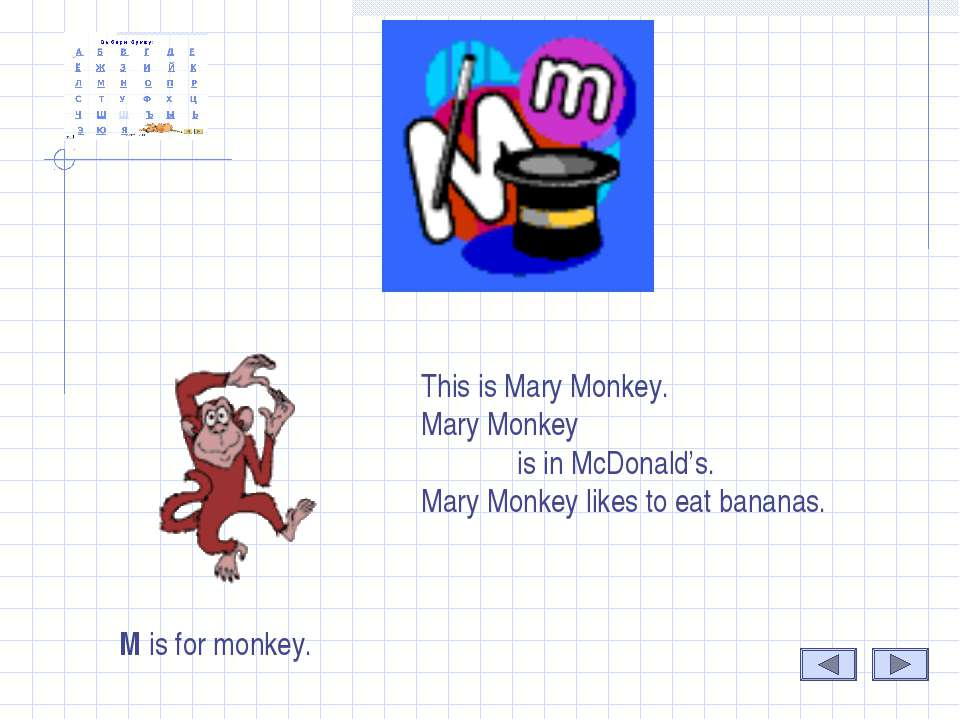 M M is for monkey. This is Mary Monkey. Mary Monkey is in McDonald's. Mary Mo...