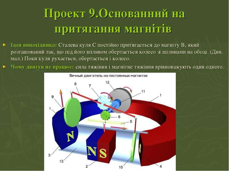 Проект 9.Основанний на притягання магнітів Ідея винахідника:Сталева куля C п...