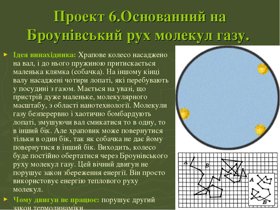 Проект 6.Основанний на Броунівський рух молекул газу. Ідея винахідника:Храпо...