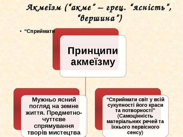 "Акмеїзм (""акме"" – грец. ""ясність"", ""вершина"")"