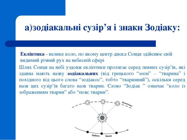 а)зодіакальні сузір'я і знаки Зодіаку: Екліптика - велике коло, по якому цент...