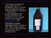 У воді аміак розчиняється дуже добре: при 0°С і звичайному тиску в 1 об'ємі в...