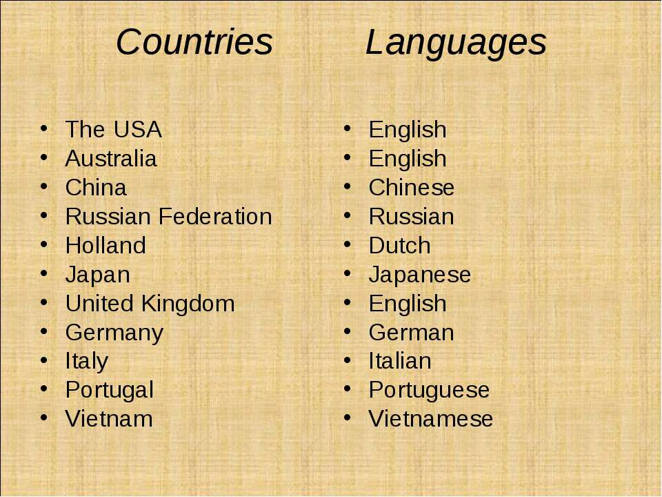 Сountries Languages The USA Australia China Russian Federation Holland Japan ...