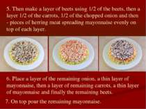 5. Then make a layer of beets using 1/2 of the beets, then a layer 1/2 of the...