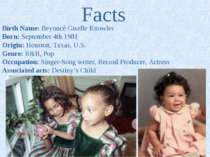 Facts Birth Name: Beyoncé Giselle Knowles Born: September 4th 1981 Origin: Ho...