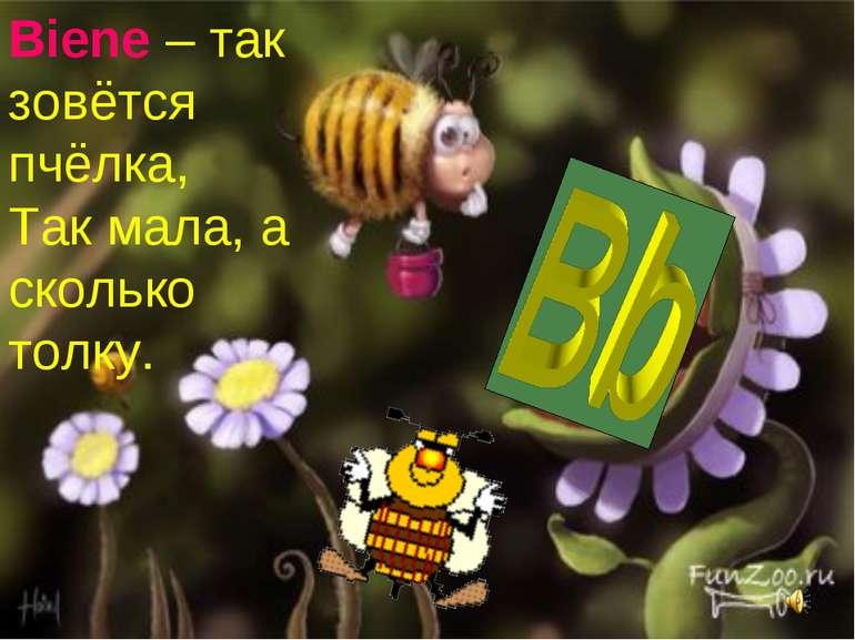 Biene – так зовётся пчёлка, Так мала, а сколько толку.