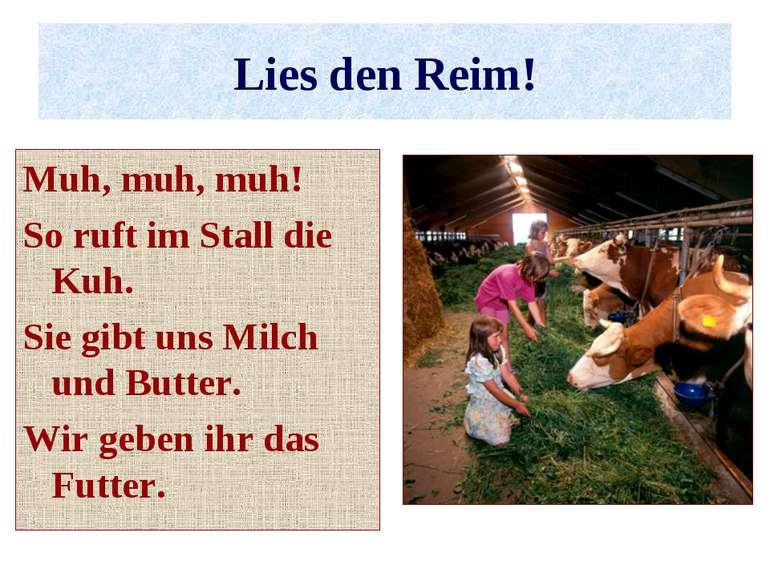 Lies den Reim! Muh, muh, muh! So ruft im Stall die Kuh. Sie gibt uns Milch un...