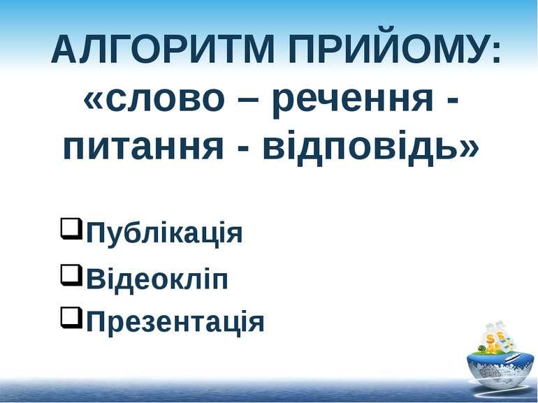 АЛГОРИТМ ПРИЙОМУ: «слово – речення - питання - відповідь» Публікація Відеокл...