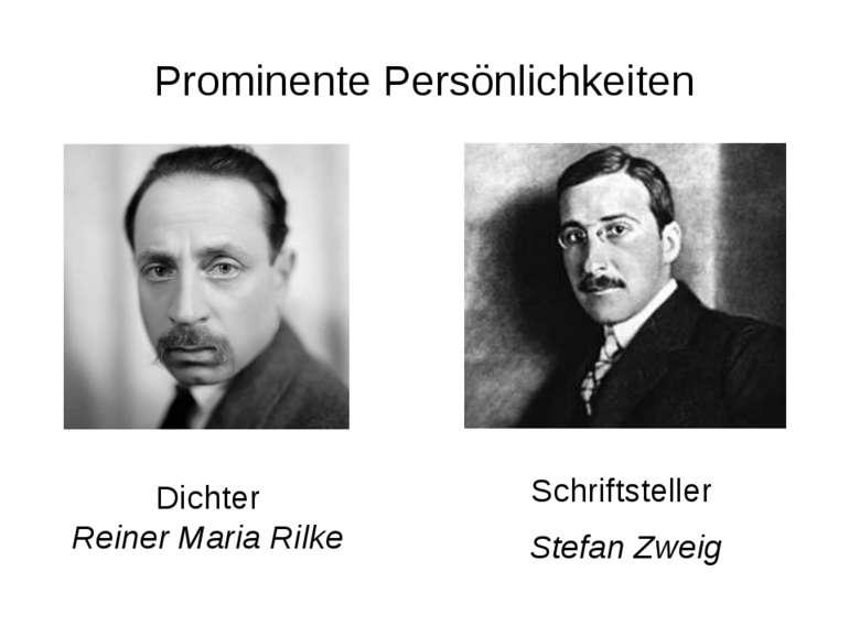 Prominente Persönlichkeiten Schriftsteller Stefan Zweig Dichter Reiner Maria ...