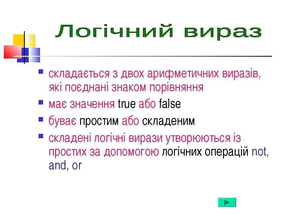 складається з двох арифметичних виразів, які поєднані знаком порівняння має з...