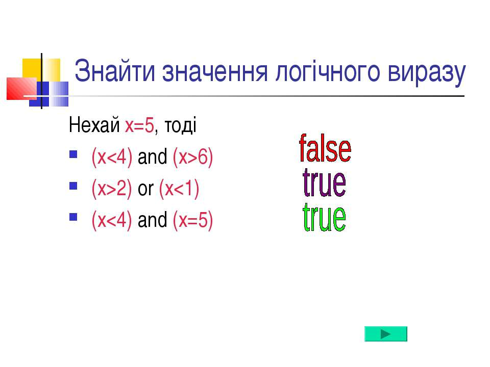 Знайти значення логічного виразу Нехай х=5, тоді (х6) (x>2) or (x