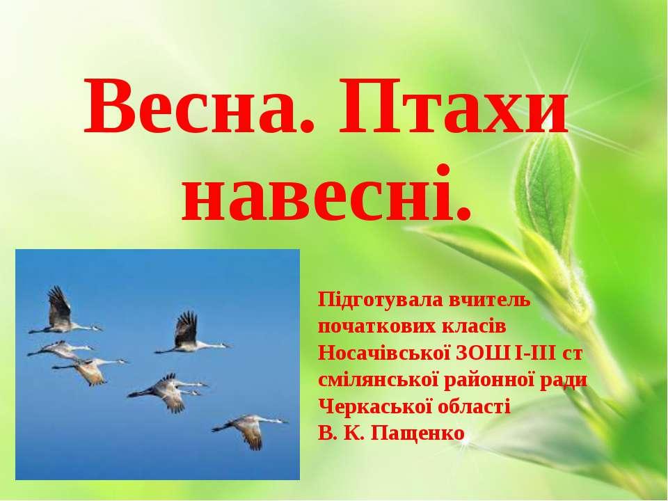 Весна. Птахи навесні. Підготувала вчитель початкових класів Носачівської ЗОШ ...