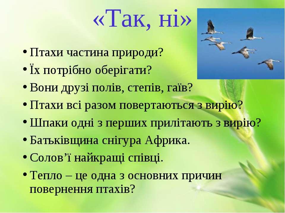 «Так, ні» Птахи частина природи? Їх потрібно оберігати? Вони друзі полів, сте...