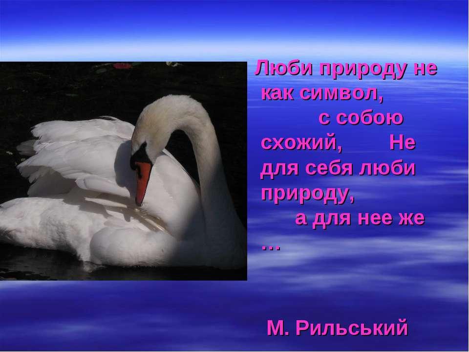 Люби природу не как символ, с собою схожий, Не для себя люби природу, а для н...
